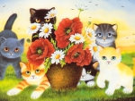 Kittens and poppies