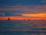 Beautiful sunset on high seas