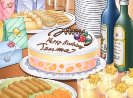 Birthday Cake - cake, item, object, happy birthday, bottle, school rumble, hungry, bread, glasses, objects, box, birthday cake, sausage, cookie, yummy, anime, tenma, biscuit, delicious, present, juice, food, items, anime food, water, plate, cream