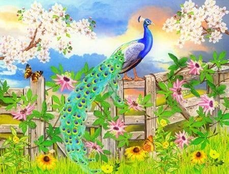 ✬Peacock on Garden Fence✬ - fence, paintings animals, attractions in dreams, beautiful, creativer pre-made, elegant, paintings, green, bright, flowers, butterfly designs, animals, blue, lovely, colors, love four seasons, birds, butterflies, peacocks, gardens, summer
