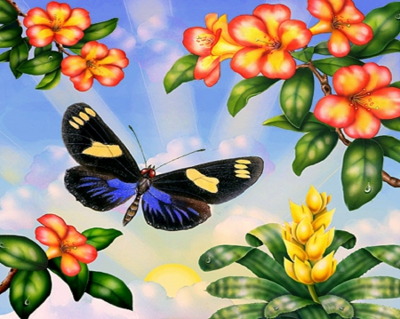 ✬Impression Doris✬ - pretty, paintings animals, attractions in dreams, beautiful, creativer pre-made, sweet, paintings, bright, flowers, butterfly designs, animals, wings, lovely, colors, love four seasons, butterflies, summer