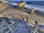 stairway to a secluded beach hdr