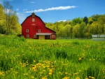 old red barn on a beautiful summer day