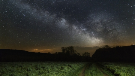 starry night over green fields - stars, fields, tracks, sky, night