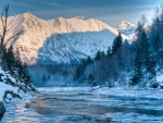 gorgeous frozen alaskan river in winter