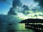dawn on a trinidad and tobago sea pier