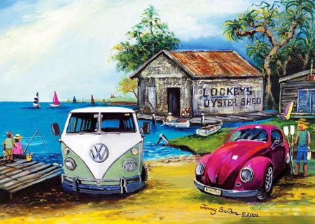 Lockey's Oyster Shed - cars, sailing, cabin, old, artwork, sea