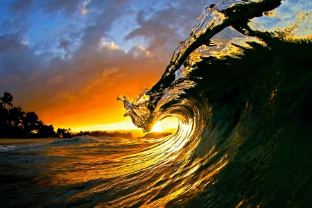 Sunset In Ohau Island - go pro, Hawaii, crystall clear water, beautiful, sunset, sky, clouds, sea, wave, beach, tube, summer, island