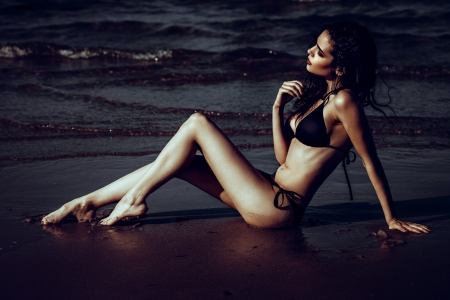 * - beach, beauty, model, woman