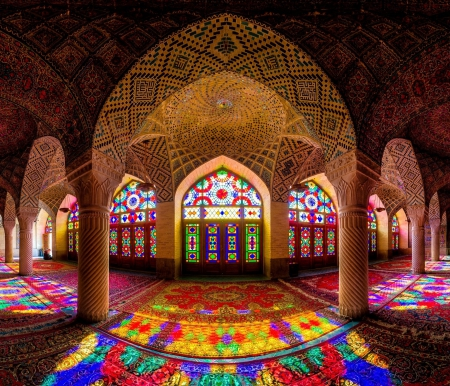 Stained Glasses in a Mosque - architecture, glass, mosque, arch, interior, stained, beautiful, light