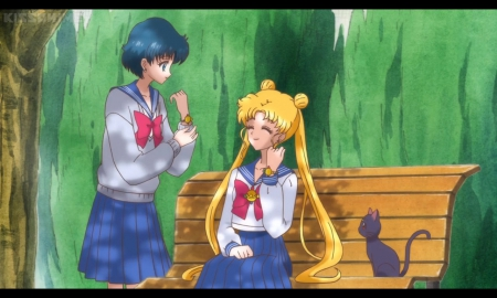 Look ... Same Watch - pretty, ami, sweet, nice, anime, sailor moon, beauty, anime girl, long hair, lovely, twintail, kitty, blonde, sailor mercury, smiling, cat, happy, short hair, blond, beautiful, twin tail, tsukino usagi, mizuno ami, sailormoon, usagi, female, ami mizuno, luna, bench, blonde hair, smile, twintails, usagi tsukino, twin tails, blond hair, tsukino, girl, blue hair, kitten