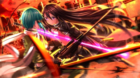 Gun vs Sword - pretty, flashing, magic, kirito, sweet, nice, gun, blade, ggo, anime, anime girl, weapon, long hair, sword, black hair, female, male, lovely, glowing, sword art online, boy, sao, spark, girl, sinon, fight, sinister, gun gale online