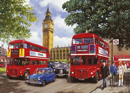 Two at Once - mini, transport, buses, st stephens, taxi, sixties, big ben