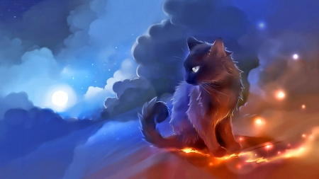 Moonlight - fantasy, magic, moon, kitten