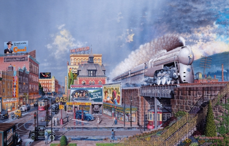 The Train of The Century - states, steam, cars, tram, city, train, bridge, taxi, america