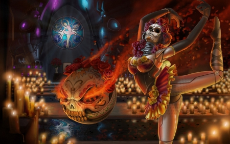 Orianna - red, orianna, ballerina, orange, halloween, dia de los muertos, game, woman, league of legends, fantasy, girl, mask, light