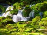 Waterfall on mossy rocks