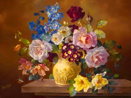 Still life - pretty, art, lovely, vase, scent, beautiful, roses, fragrance, still life, elegance, bouquet, painting, flowers, harmony