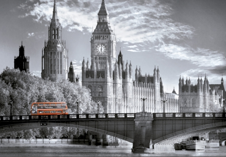 Big Red Bus - red, thames, transport, black and white, bus, big, london, parliament, big ben