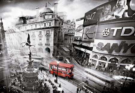 Big Red Bus in Piccadilly - red, transport, black and white, bus, city, big, london, eros, piccadilly