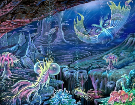 Depth of Oceans - corals, sea life, oceans, draw and paint, attractions in dreams, beautiful, depth, paintings, lobsters, scenery, animals, blue, seaweeds, underwater, fishes, lovely, colors, love four seasons, creative pre-made, trees, summer, nature, jellyfish