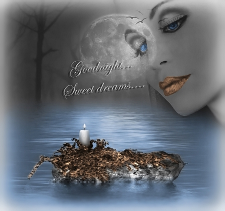 For Good Night & Sweet Dreams... - beautiful, bronze, woman, fantasy, moon, dreamer, goodnight, blue, night, candle, forest, black, trees, lips, water, girl, dark, moonlight, sweet dreams, eyes