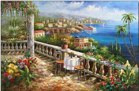 Romantic Table for Two - table, seaside, nature, terrace
