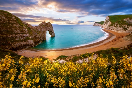 Durdle Door, Sea Arch, Dorset, England - rocks, colorful, shore, beautiful, sunset, clouds, sea, beach, cliffs, wildflowers, sunrise, Dorset, lovely, view, ocean, waves, sky, England, Durdle door, formations, arch, nature, landscape, sands, coast