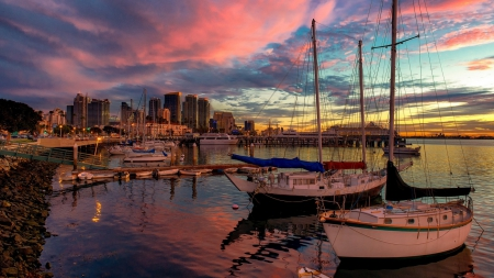 San Diego Pier Sunset - San Diego, Sky, Harbors, Reflections, Sunsets, Nature, Piers