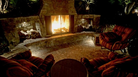 Outdoor Fireplace At Night Houses Amp Architecture
