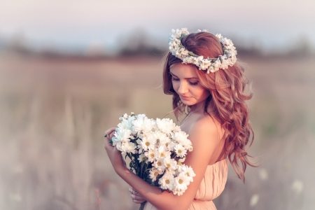 Softness Beauty ♥ - bride, beautiful, woman, softness, daisies, brunette, photography, girl, bouquet, flowers, beauty, field, daisy