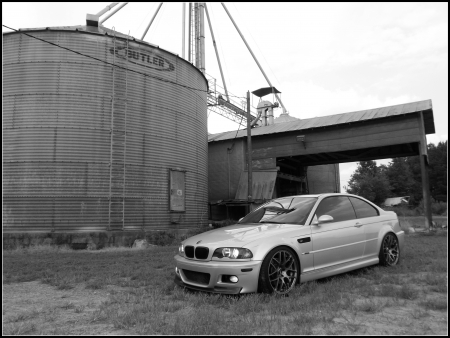 BMW E46 M3 Industrial - bmw, industrial, sports car, country, barn, farm, e46, urban, car, m3, import