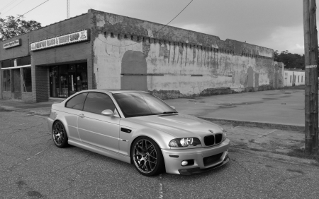 BMW E46 M3 Downtown - bmw, black and white, sports car, thrift shop, downtown, e46, urban, car, m3, import
