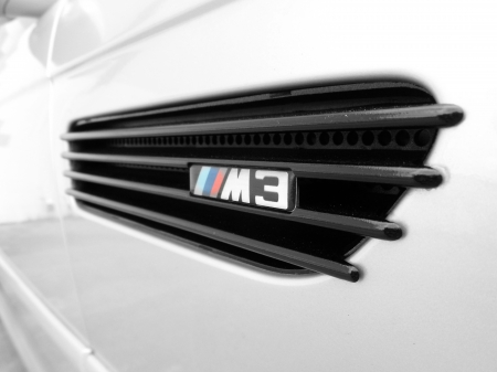 BMW E46 M3 Side Close up - bmw, sports car, black, smoked, grille, e46, car, vent, m3, import, grill