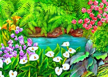 ★Arums and Stream★ - stunning, colors, love four seasons, places, beautiful, attractions in dreams, creative pre-made, country, paintings, summer, flowers, gardens, lovely flowers, gardens and parks, streams