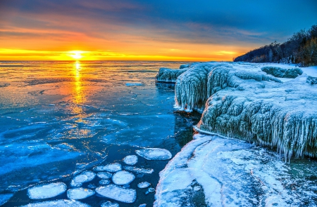 Frozen sunrise at lake michigan lakes nature background wallpapers on desktop nexus image - Beautiful frozen computer wallpaper ...