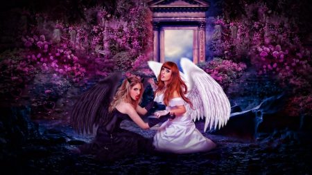 Good and Evil - angel, evil, black, demon, wins, good, fight, flowers, girls, white, pink