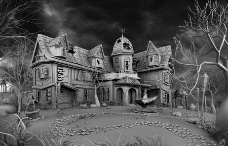 A Haunted House - grey, house, trees, halloween