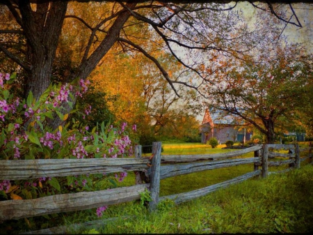 Country Field - fence, grass, country, trees, sky, barn, living, green, purple, flowers, nature, field, wood, blue