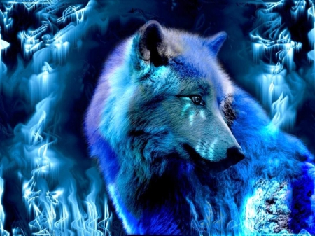 Blue Wolf - fantasy, dark, creatures, wolf, blue