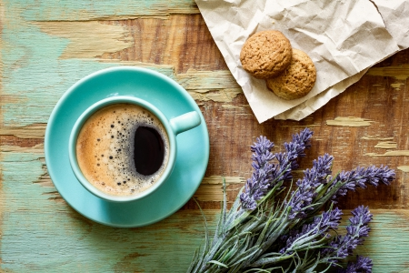 Good Morning ♥ - biscuit, cookies, coffee, photogrpahy, cup, beautiful, lavender, sweet