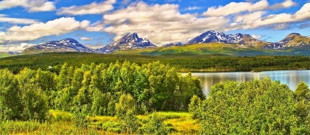 Panorama Northern Norway In Summer - forest, Artic Circle, beautiful, sky, clouds, valley, nature, river, green grass, mountain range, snowy peaks
