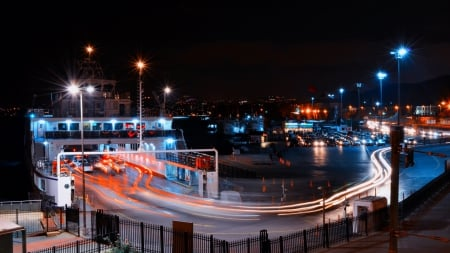 ferry in istanbul at night in long exposure - cars, city, ferry, long exposure, lights, harbor, night