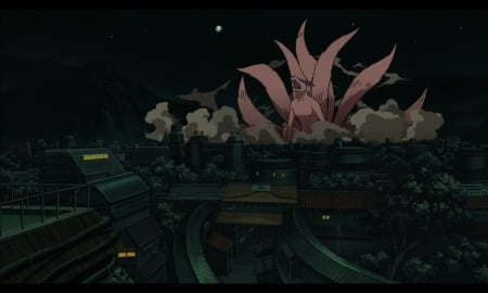 Kyuubi - shippuudden, house, naruto, naruto shippuuden, home, evil, city, anime, darkness, kyuubi, village, beast, wars, smoke, night, nine tails, kuruma, town, black, konoha, building, dark, monster, sinister, scene
