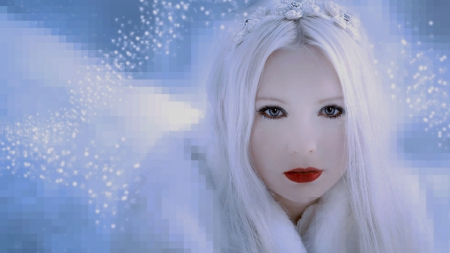 Snow queen - pretty, blond, white and fair, remoteness, abstract art, fairytale, beautiful, fantasy, snow queen, long hair, red lips, whitecold, abstract, winter, make up, beautiful eyes, enchanting, girl, icy, snow, awesome, white
