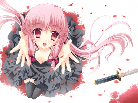 Reaching - pretty, dress, yuno, adorable, sweet, nice, twin tail, anime, mirai nikki, hand, anime girl, long hair, sword, female, lovely, twintail, twintails, twin tails, blood, plain, up, kawaii, girl, katana, gasai yuno, simple, petals, pink hair, white, looking, red eyes