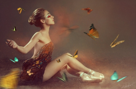 Release Your Fears - free, ballerina, fearless, girl, expression, butterflies