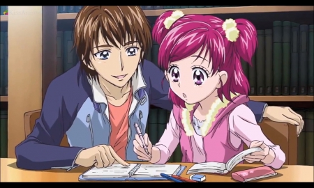 Tuition Class - pretty, book, adorable, teacher, sweet, cure dream, nice, pretty cure, anime, beauty, anime girl, long hair, study, table, lovely, homework, cure, coco, anime couple, smiling, happy, short hair, precure, beautiful, couple, female, male, smile, kawaii, boy, girl, desk, pink hair