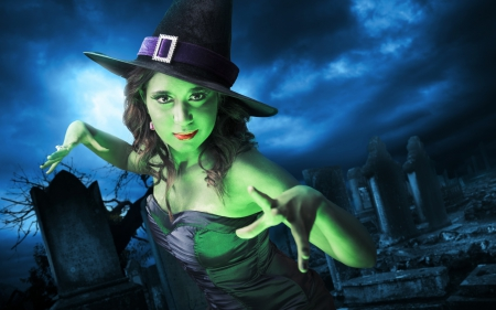 Witch - witch, fantasy, green, girl, halloween, black, woman, hat