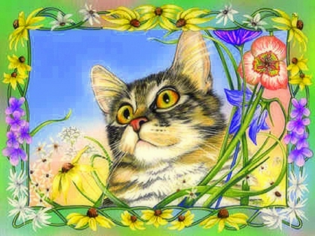 ..Curious Annie.. - pretty, draw and paint, lovely, curious, love four seasons, beautiful, spring, creative pre-made, cute, paintings, flowers, furs, kitten, cats, animals